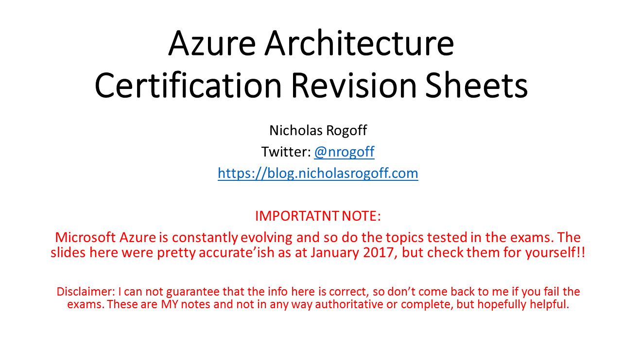 My microsoft azure certification revision sheets nicholas rogoff blog 1betcityfo Gallery