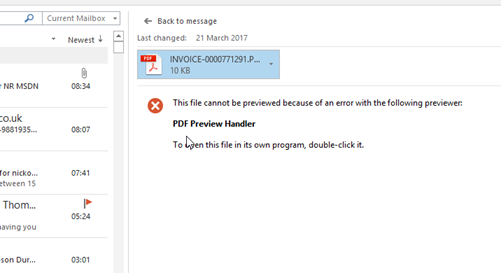Fix broken Adobe Acrobat DC PDF Preview Handler in Outlook