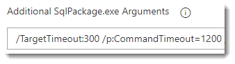screen shot showing the Additional SqlPackje.exe Arguments section of the 'Azure SQL Publish' task