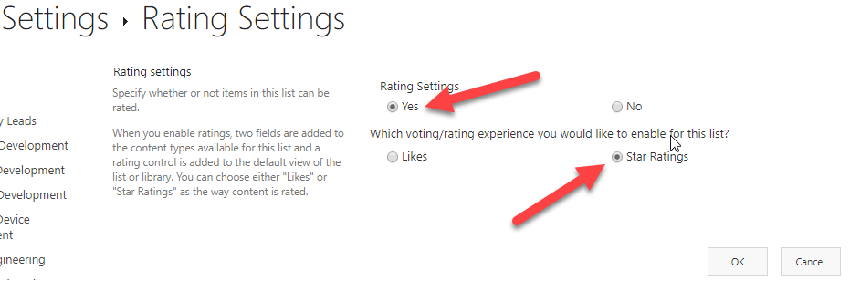 Screenshot of the Rating Settings in SharePoint