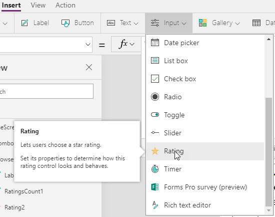 Screen shot of PowerApps Input menu showing the Rating component